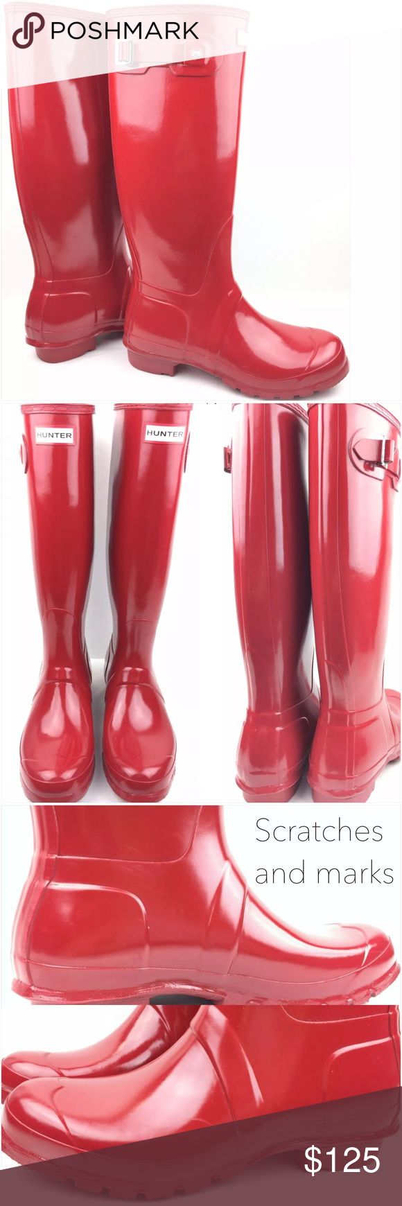 Hunter Military Red Original Gloss Tall Rain Boots Used | Boots have scratches, scuffs, marks, and minor stains. Otherwise, boots are in good condition. | Original box not included | Size: 9 US Woman's Hunter Boots Shoes Winter & Rain Boots
