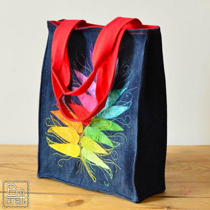 Batik feather tote bag
