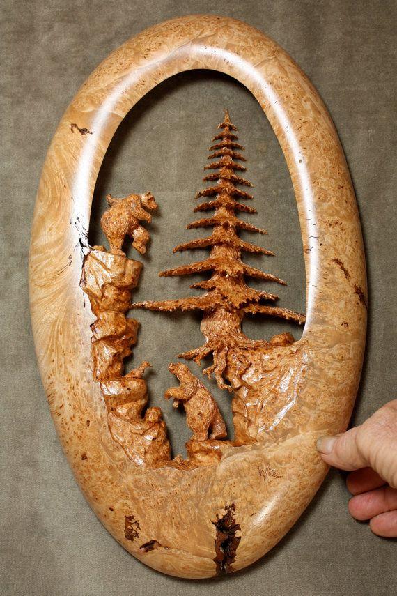 Bear art tree carving wood log cabin gift