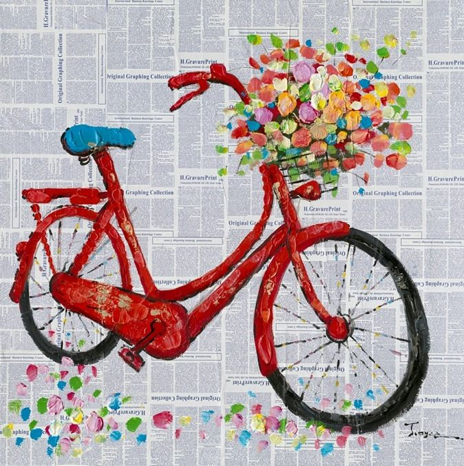 Mud room Art - Bicycle w/Flowers - Oil Painting on Canvas