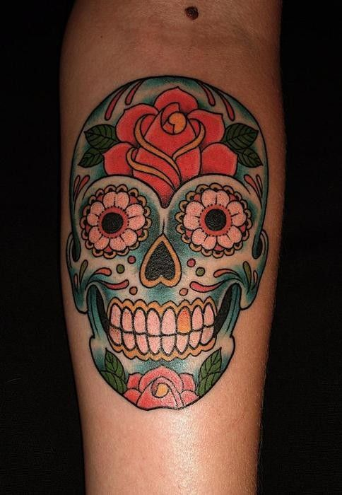 Pin by stephen cummins on sugar skull tattoos pinterest for Color skull tattoos