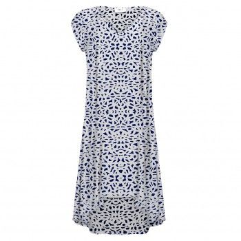 Mela Purdie Trapeze Dress - Delft Print Mousseline Effortlessness and fluidity define Mela Purdie's Spring '15 collection. This trapeze dress is cut voluminous and exaggerated for elegant movement and left unlined for lightness. The V neck , cap sleeve and closed in back create a modern clean silhouette. The simplicity of the dress allows for easy soft layering with jackets.