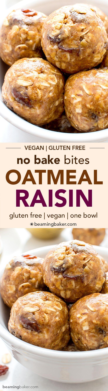 No Bake Oatmeal Raisin Bites (V+GF): A super easy, one bowl recipe for healthy energy bites bursting with oatmeal raisin cookie flavor. #Vegan #GlutenFree | BeamingBaker.com