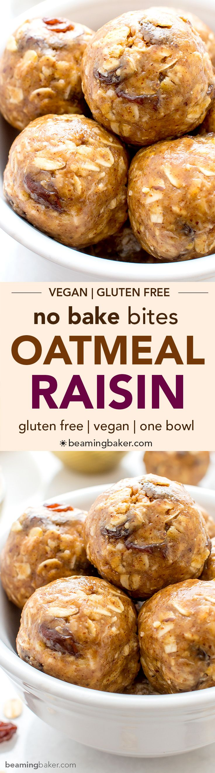 No Bake Oatmeal Raisin Bites (V+GF): A super easy, one bowl recipe for healthy energy bites bursting with oatmeal raisin cookie flavor. #Vegan #GlutenFree | BeamingBaker.com