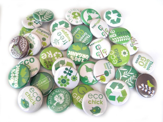 These for the gift bags. Green and Eco.  25 Eco Green PIN BACK Buttons. $7.75, via Etsy.