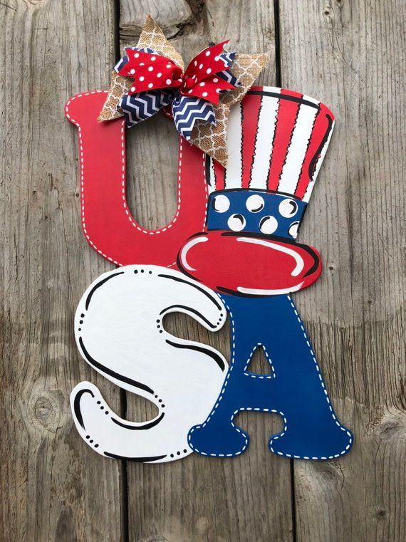 Usa Door Hanger America Sign Patriotic Sign Usa Sign 4th Of July Sign American Flag Decor