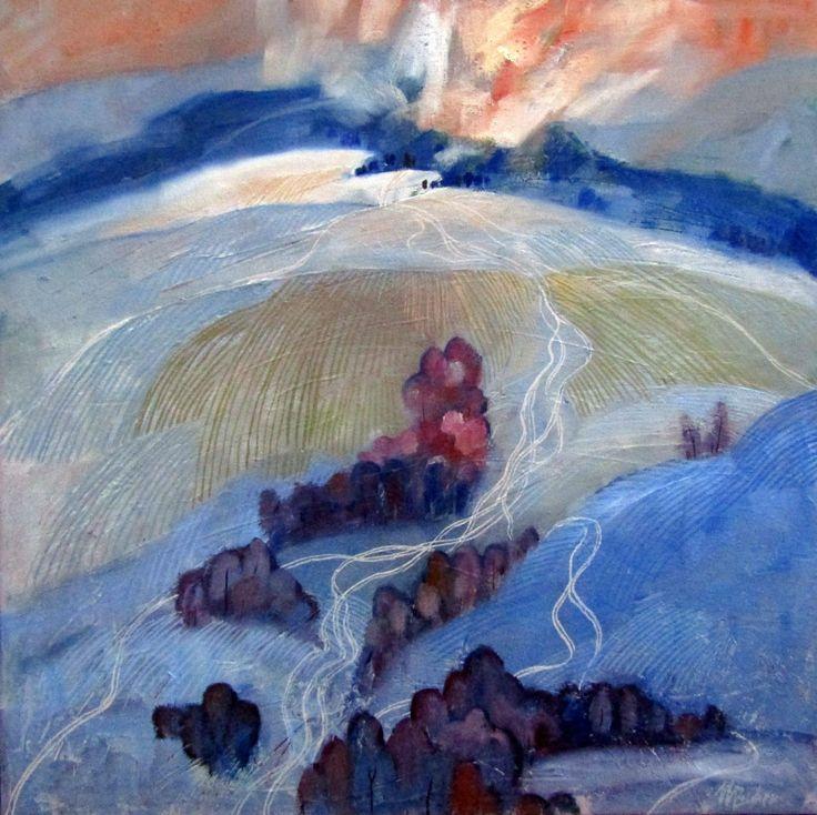 Miroslav Bucher - Portrét zeme - Stopy v snehu, olejomaľba na plátne, 80 x 80 cm