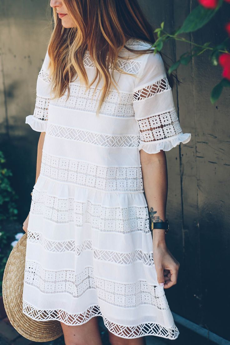 Anthropologie White Lace Dress for summer on Prosecco and Plaid