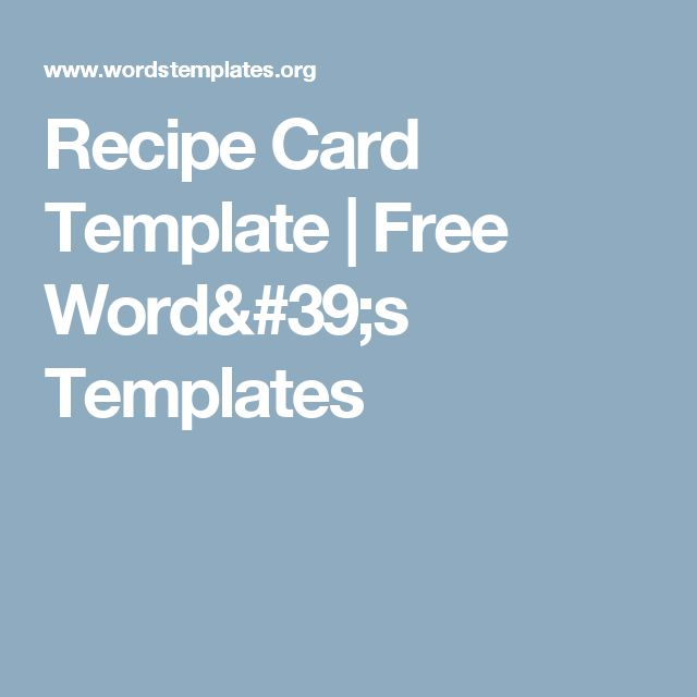 60 best Hot Topics images on Pinterest 60th birthday - free recipe card template for word