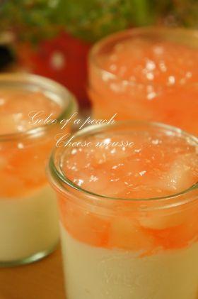 「●桃のコンポートジュレ。チーズムース」マッホー | お菓子・パンのレシピや作り方【corecle*コレクル】