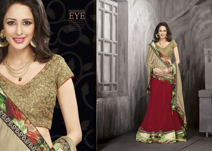 Bollywood Net, Poly Georgette, Tusser Silk, Net Silkfeel Print Lehenga (CATALOG - 5095)