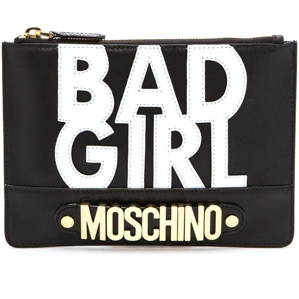 Moschino Bad Girl Clutch - Black ($237) ❤ liked on Polyvore featuring bags, handbags, clutches, purses, bolsas, moschino, genuine leather handbags, hand bags, purse pouch and leather man bag
