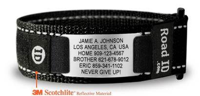 Road ID bracelet to wear while running with emergency contact info. Great idea!