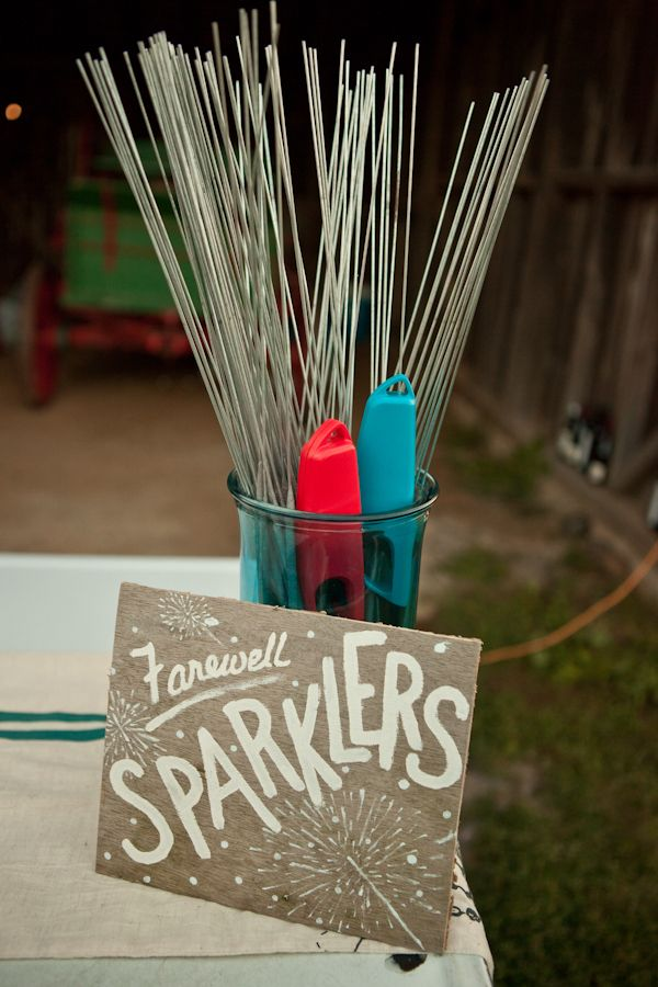 Sparklers- shown here with a barbeque lighter but you could include Personalized Wedding matches instead. Available in Canada at www.weddingfavours.ca