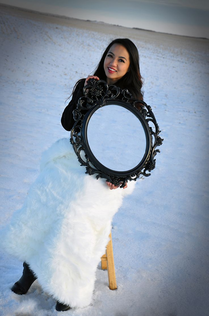 Fun mirror photography with photoshop. Winter Wonderland photo session near North Battleford, SK.