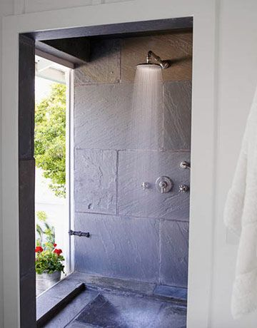 Need to remember this brilliant indoor/outdoor shower idea in case I ever have a home near the beach. My shower would need a little more privacy than a clear glass door though. And a deadbolt.