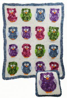 Owl Afghan & Pillow Set [PB123] - $7.99 : Maggie Weldon, Free Crochet Patterns