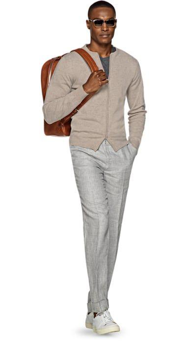 Beige wool cardigan grey chino pants white sneakers