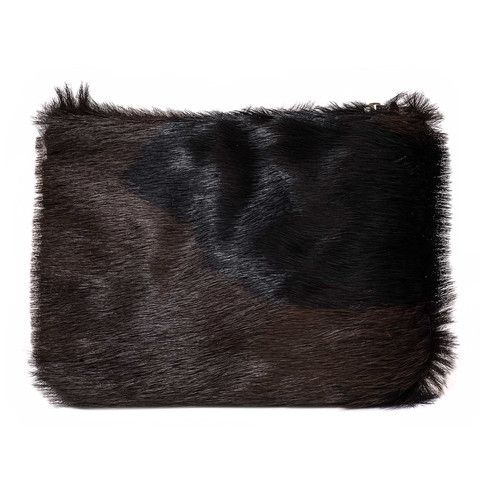Brown/Black Fur Clutch - The Willow is a beautiful pouch style bag. It can be used as a mini clutch bag or is also the perfect insert for your VVA Totes to safely store away your valuables or even favourite cosmetics.  Available in a stunning selection of prints and leathers: www.vva.co.uk