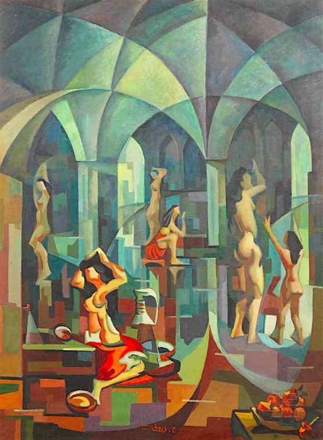لوحة تراثية لحمام النساء Bathhouse Painting By Hafidh Al Duroubi Baghdad C1960s حمام النساء لوحة برسم حافظ الدروبي بغداد الست Art Pricing Classic Art Art