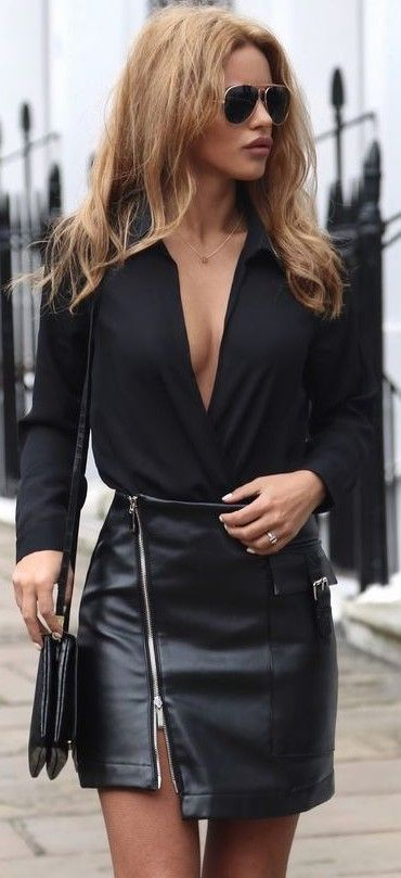 #summer #popular #outfits | Black + Leather Zip