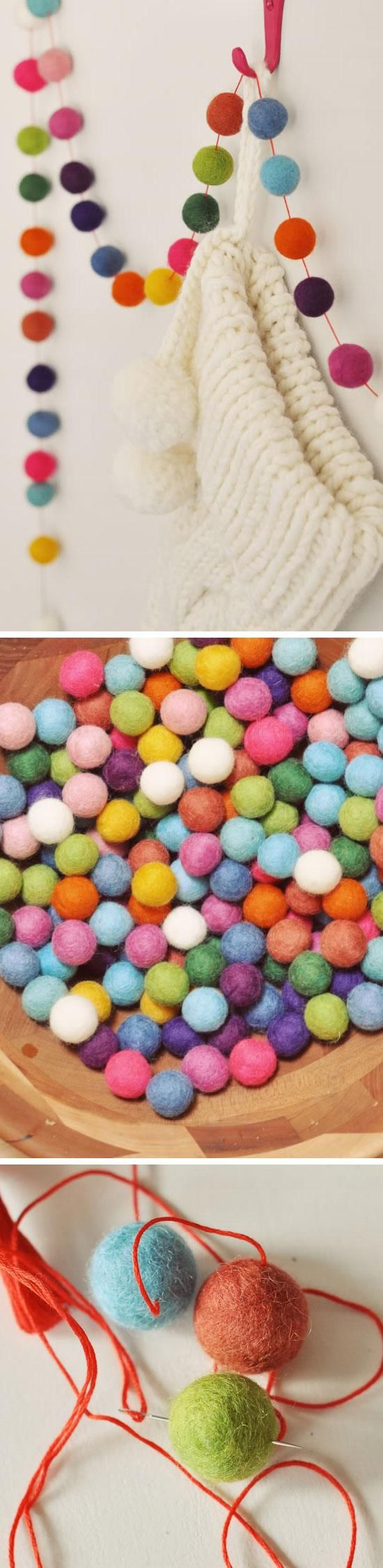 Felt Ball Garland for Christmas   Dollar Store DIY Christmas Decor Ideas on a Budget