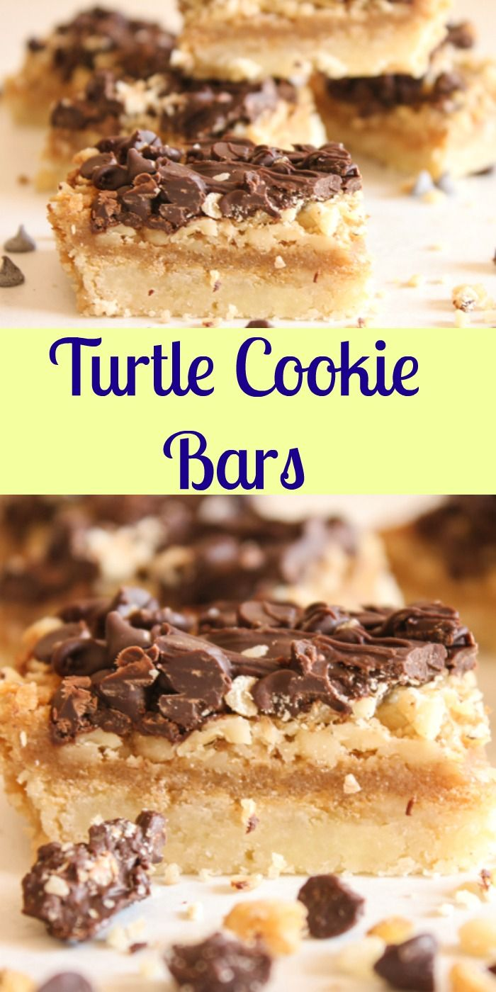 Turtle Cookie Bars, a delicious chocolate, caramel bar recipe.  Fast and easy with a yummy shortbread base, filled with nuts,caramel and chocolate.Perfect.|anitalianinmykitchen.com