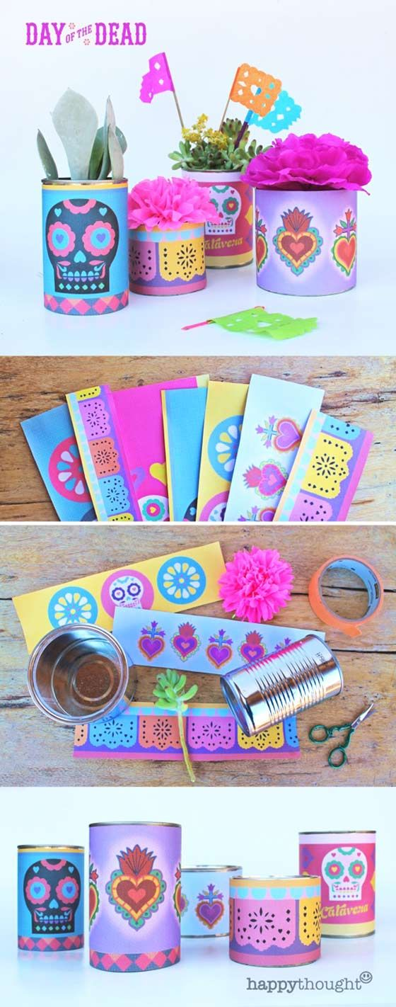 Find old tin cans around the house to recycle! Printable Day of the Dead tin can label templates. Calavera sugar skulls, Milagro hearts and papel picado! #dayofthedead https://happythought.co.uk/day-of-the-dead/day-of-the-dead-centerpiece