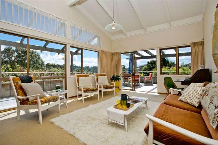 #70's lounge. #shagpile rug. #jug #glasses #runner @Freedom New Zealand. Cane side table @Pamela Sances-Kosinski. Rame Road, Greenhithe. #PlacesandGraces #HomeStaging