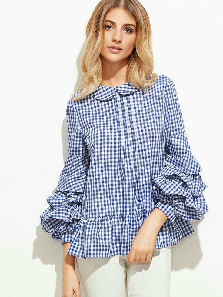 This top combines two major trends of summer 2017→Gingham + dramatic sleeves