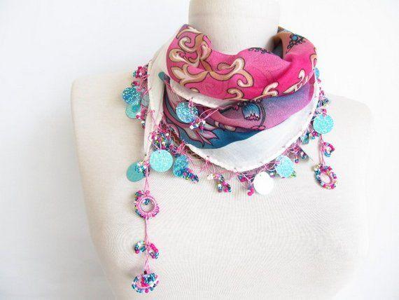 Christmas gift cotton scarf Turkish scarves Yemeni OYA by asuhan, $21.90