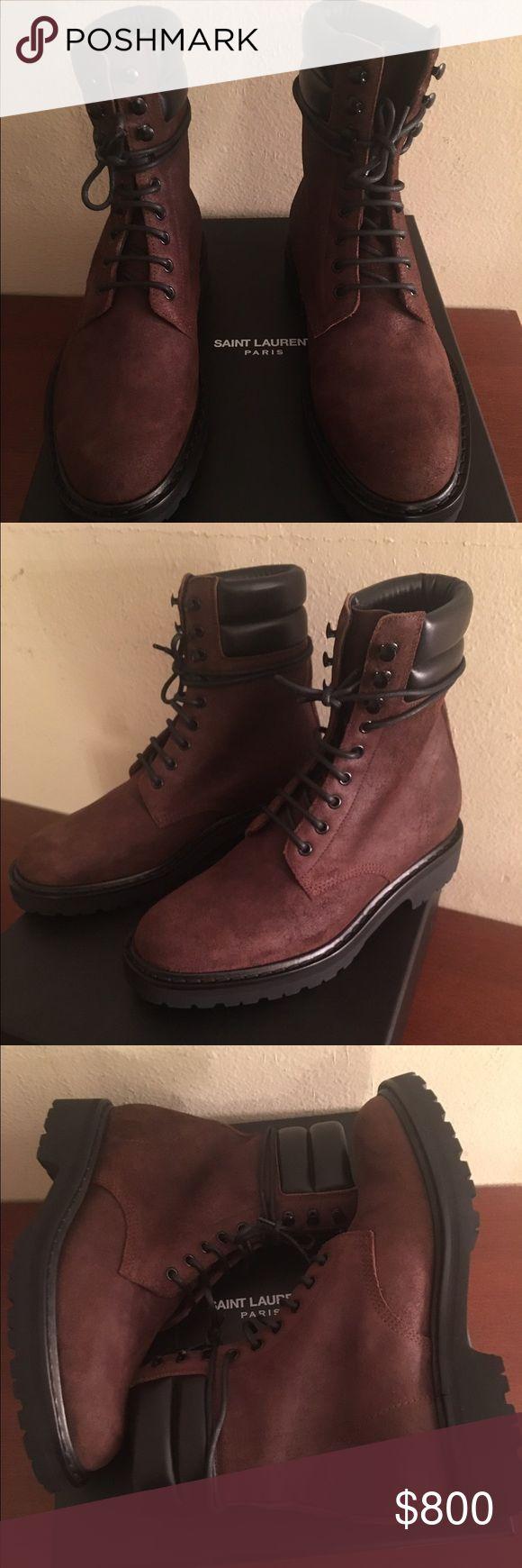 Saint Laurent Brown Combat Boots Brand new in box. Men's Saint Laurent brown combat boots size 8uk/9us/42eu. Retail $995. Saint Laurent Shoes Boots