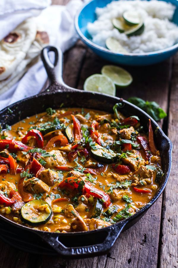 Summertime Basil Chicken Curry with Coconut Ginger-Lime Rice | Half-Baked Harvest