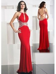 Jersey high-necked Xtreme Long Prom Dress