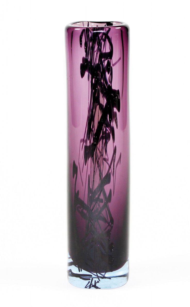 "Lubomir Blecha, fuzzy glass vase ""Entropy"", 1963, H: 26,0 cm, Pattern Id: 6332, UUR Prague, Glassworks Skrdlovice, Czechoslovakia"