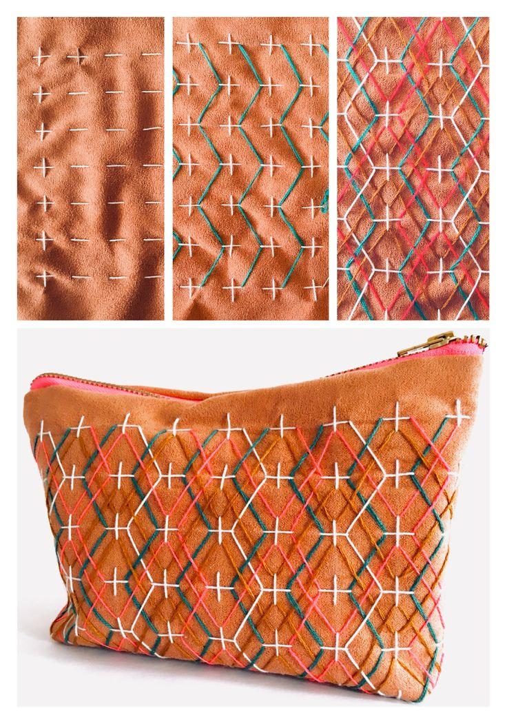 Sashiko inspired geometric embroidery/ Wunderwuz