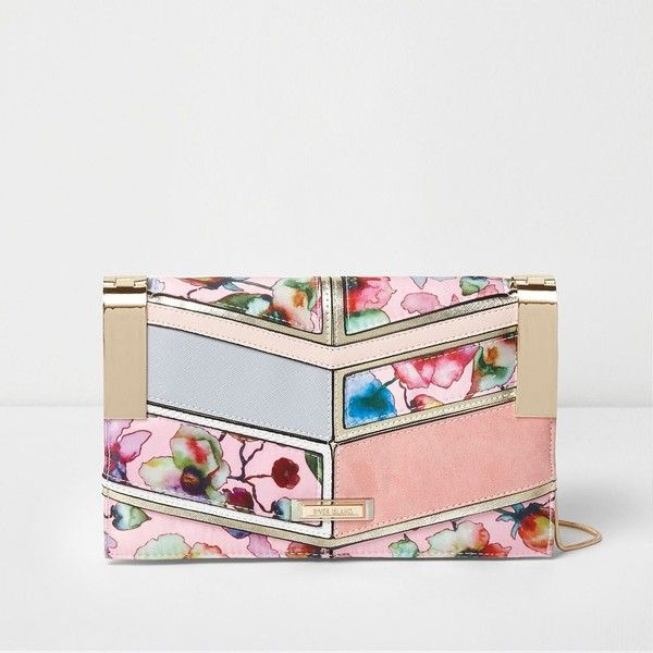 River Island Pink floral print panelled clutch chain bag ($52) ❤ liked on Polyvore featuring bags, handbags, clutches, bags / purses, clutch bags, pink, women, floral purse, pink hand bags and chain-strap handbags