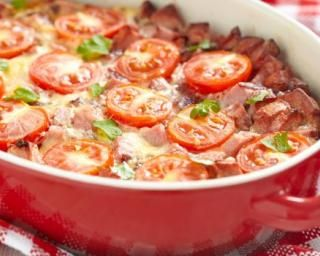 Gratin de poivrons et tomates au basilic