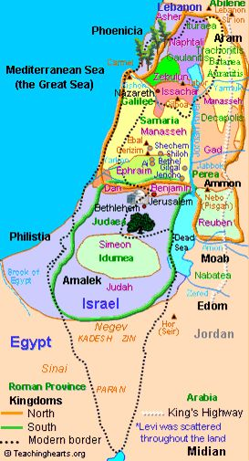 Map of ancient Israel http://www.fivefoldministryireland.com