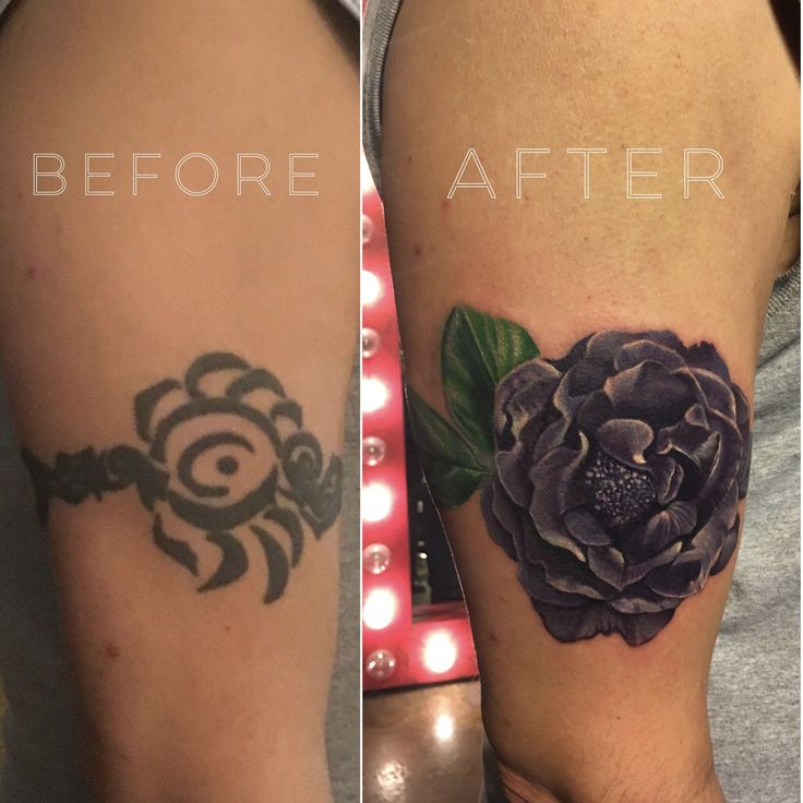 Before and after cover-up tattoo