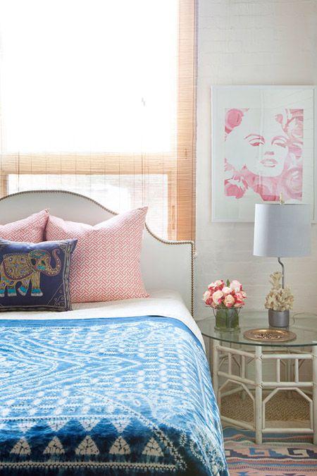 Design Manifest bedroom, boho, blue, white, coral: Elephants Pillows, Marilyn Monroe, Side Tables, Design Manifest, Color, Bedrooms Design, Guest Rooms, Eclectic Bedrooms, Girls Rooms