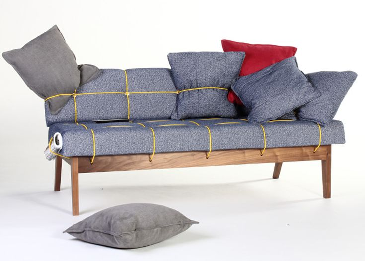Bungy Sofa with yellow elastic cord by Leala Dymond #furniture #design