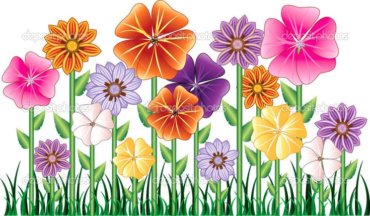 Cartoon Flowers Clip Art | Flower Garden | Stock Vector © Basheera Hassanali #3003101