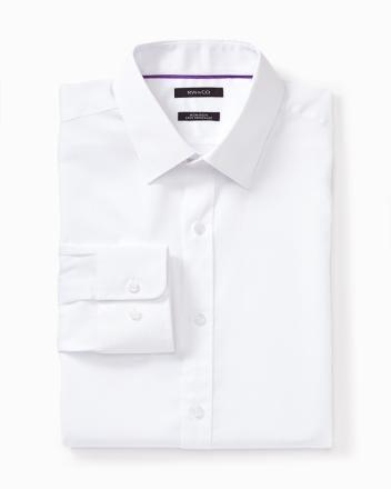 Non-iron regular fit dress shirt in plain dobby