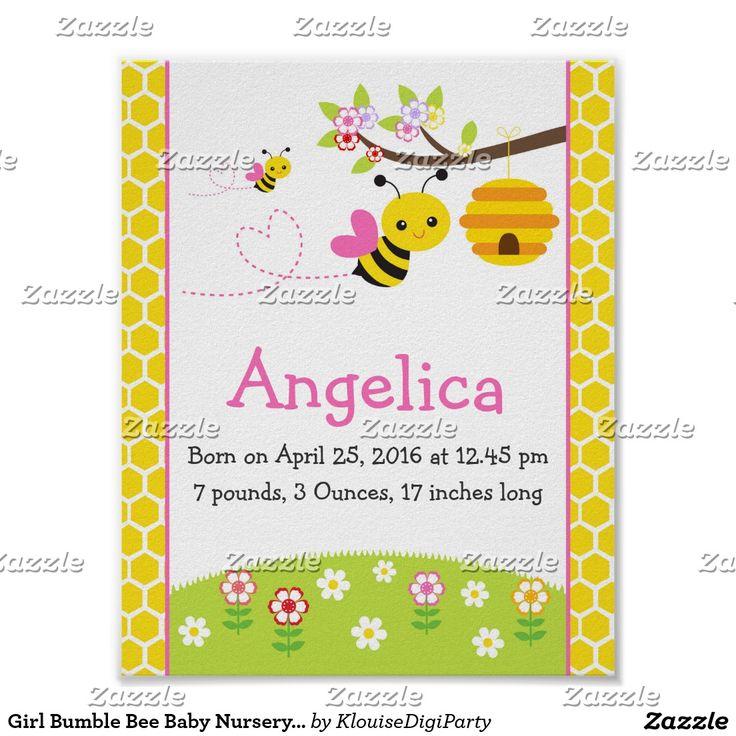 Girl Bumble Bee Baby Nursery Wall Art