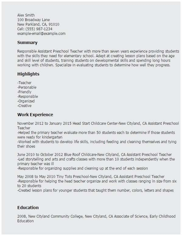26 Preschool Teacher Assistant Job Description Resume Cover Letter Templates