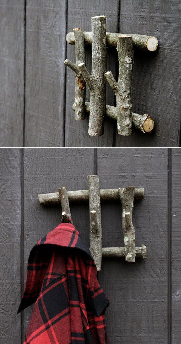 Use tree branches as household hooks for hanging clothes, accessories, and many other things that need to be put on a hook. http://hative.com/diy-ideas-with-twigs-or-tree-branches/