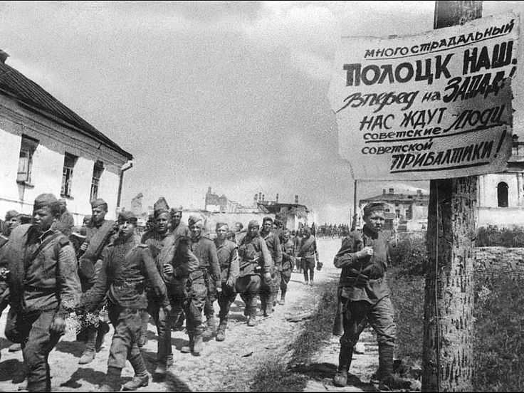 Operation Bagration: Soviet troops prepare to reconquer Byelorussia and far Western Russia in the summer of 1944. Bagration is the biggest land offensive in history. The Red Army moves over 500 km closer to Berlin in less than two months and German Army Group Centre is destroyed. Some of the Soviet troops look incredibly young.