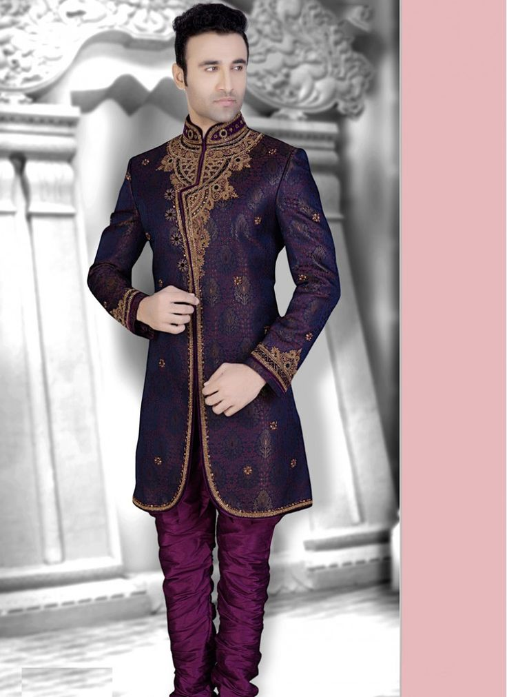 Image result for purple metallic gold brocade sherwani