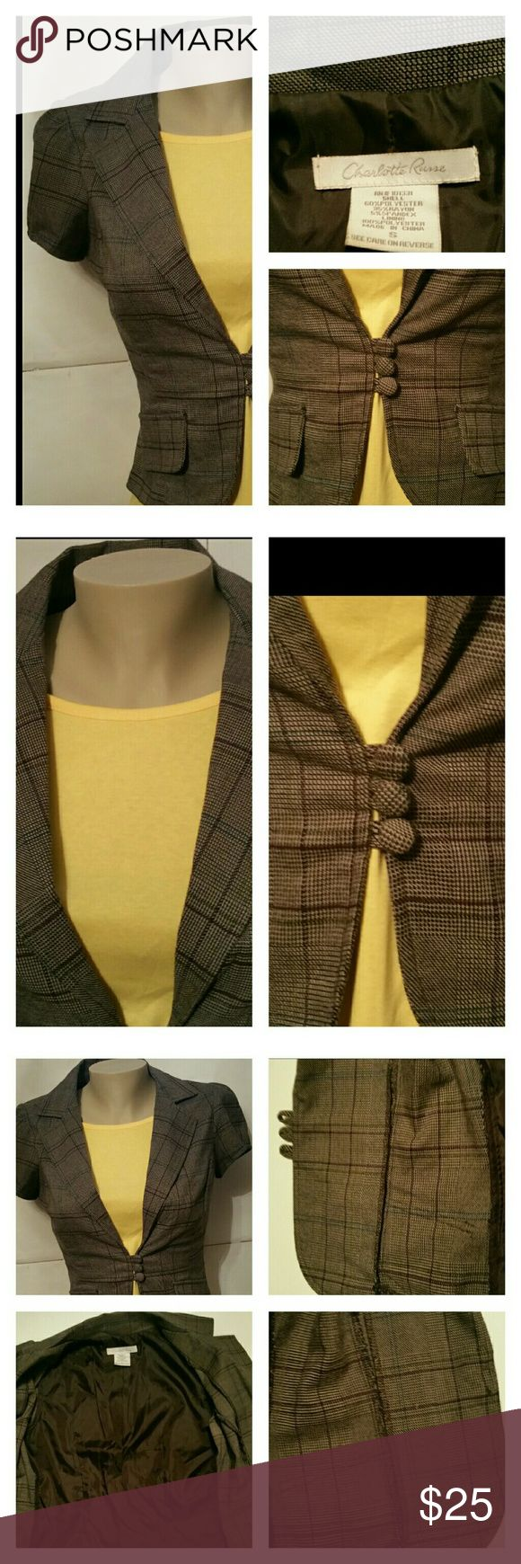 Career Blazer by Charlotte Russe Brown Plaid S EUC Charlotte Russe   Excellent used condition   Brown plaid  blazer Crop style Form fitting Short sleeves Open collar Plunging vneck Front 3 button closure Partially lined Size small Pit to pit measures 18 inches  Length from shoulders measures 19 inches  Shell: 60% 35% rayon 5% spandex  Lining: 100% polyester  Made in China Charlotte Russe Jackets & Coats Blazers